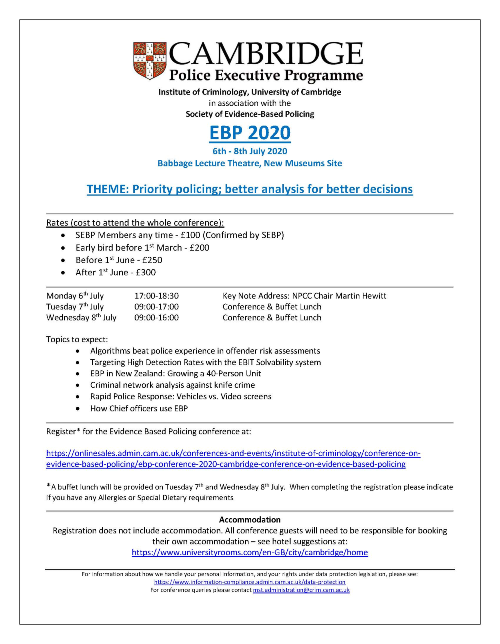 Evidence Based Policing 2020 conference flyer
