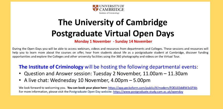 2021 Postgradaute Open Day Criminology events