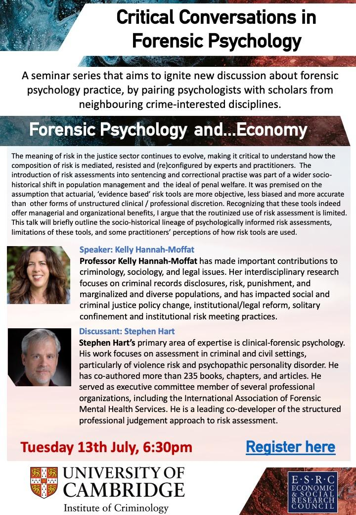 Seminar flyer Forensic Conversations and Economy