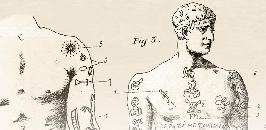 An image of criminals' tattoos from Cesare Lombroso's L'uomo Delinquente.