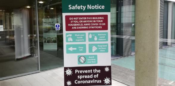 Covid-19 Safety sign in the Foyer 590x288