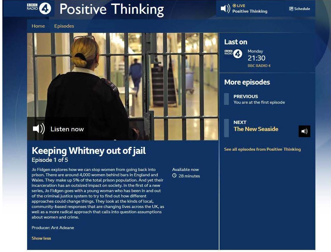 Professor Loraine Gelsthorpe particpates in a BBC Radio 4 Postive Thinking discussion